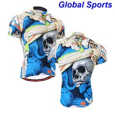 2017 blue cycling clothing short cycling clothing men blue skull all over printed cool cycling jerseys for riding biking #Affiliate