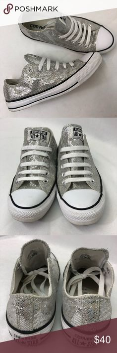 Silver Glitter Converse Silver glitter Converse. Excellent used condition. A bit dirty here and there in the rubber but no flaws. Size women's 7. Converse Shoes
