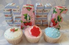 Cath Kidston letters and CK inspired cupcakes Wedding Pins, Wedding Favours, Cath Kidston Cake, Shabby Chic Cakes, Cupcake Heaven, Fairy Cakes, Cute Cupcakes, Cake Creations, Let Them Eat Cake