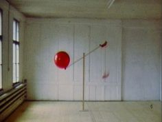 """Roman Signer. Tow Balloons. 1983  // He adresses issues of  time chance and change.   Cause and effect relationships…point of entry ..challenge the viewer to interpret and create meaning.   The sulptures possess a heightened sense of potential for action.   Signer says """"always in my work something is going to happen, is happening, or could happen."""""""