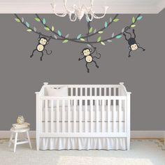 Hanging Monkey Wall Decal, Monkey Vines, Monkey Decal, Nursery Wall Decals,  Boy Monkeys, Kids Room Wall Decals, Modern Blue Design Good Ideas