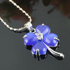 Bleu Collier avec pendentif en alliage