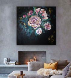 """Obraz """"Róże w czerni"""" autorstwa Anny Wójcik  W 100% UNIKATOWY OBRAZ NA PŁÓTNIE  Ręcznie malowane obrazy na płótnie- NIE SĄ TO GRAFIKI NA PŁÓTNIE, WIELOKROTNIE DRUKOWANE, KTÓRYCH STOSUNKOWO NISKA CENA WYNIKA Z MOŻLIWOŚCI MASOWEGO ICH POWIELANIA. #grafika #obraz #canvas #design Nalu, Painting Canvas, Tapestry, Home Decor, Hanging Tapestry, Tapestries, Decoration Home, Room Decor, Home Interior Design"""