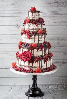 Naked wedding cake, wedding cake trends, 2018 wedding cakes - my wedding . - Naked wedding cake, wedding cake trends, 2018 wedding cakes – my wedding … – cake – - Big Wedding Cakes, Wedding Cake Decorations, Beautiful Wedding Cakes, Wedding Cake Designs, Beautiful Cakes, Red Velvet Wedding Cake, Berry Wedding Cake, Magical Wedding, Pretty Cakes