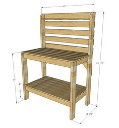 If you're tired of starting seeds on the kitchen counter, use these free, DIY potting bench plans to build your own outdoor potting station! Outdoor Potting Bench, Pallet Potting Bench, Potting Tables, 2x4 Bench, Bench Vise, Pallet Furniture, Furniture Plans, Furniture Stores, Furniture Projects