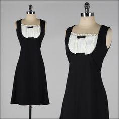 vintage 1960s black linen tuxedo dress by Eloise Curtis for David Styne