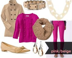 Pink & beige...I wear both of these colors alot! Never thought to put them together so bold like this!