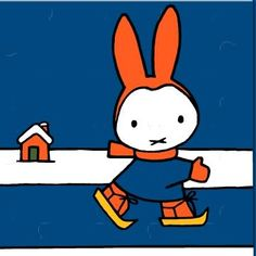 Nijntje op schaats -Nijntje on ice skates Dick Bruna, artist Simple Illustration, Children's Book Illustration, Book Cover Design, Book Design, Rabbit Drawing, Snow Activities, Miffy, Dutch Artists, Ice Skating