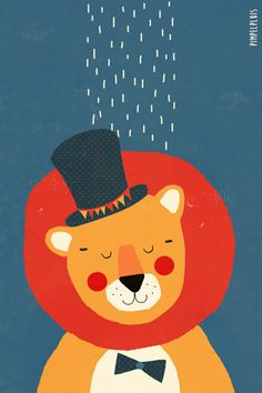 Leeuw print - Pimpelpluis - https://www.facebook.com/pages/Pimpelpluis/188675421305550?ref=hl - (nursery print illustration kids children art poster dieren kinderen cute lion illustratie animal retro)