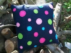 Navy Blue Wool 'Orbits' Cushion / Pillow by WoollyLakes on Etsy, £22.00