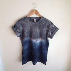 Dip Dye Tie Dye T-Shirt Unisex, Grey and Black/Navy on Etsy, £12.00
