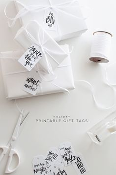 all white gift-wrapping ideas! Wrapping Ideas, Creative Gift Wrapping, Creative Gifts, Holiday Gift Tags, Christmas Gift Wrapping, Christmas Gifts, Christmas Projects, Pretty Packaging, Gift Packaging