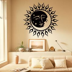 Wall Decals Vinyl Stickers Sun Moon Crescent Dual Ethnic Symbol Night Stars Decal Wall Art Home Interior Decor Bedroom Dorm Living Room C053 #walldecals #ethnic #vinylstickers #sunandmoon