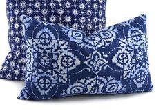 Indigo Blue White & Denim Blue Lumbar Throw Pillow Cover