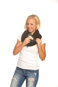 The SHOLDIT Clutch Wrap - Scarf That's a Purse - Hidden Zipper Pocket - Basic BEYOND Black Sholdit