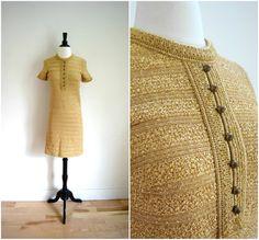 Vintage gold brass boucle knit retro dress / by OldSchoolSwank