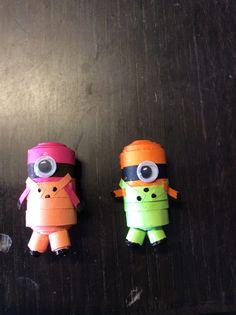 Colored minion fridge magnets