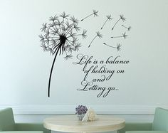 Dandelion Wall Decal Quote Life Is A Balance Holding On Letting Go- Inspirational Quote Wall Art Vinyl Lettering Bedroom Flower Decor Art Vinyl, Vinyl Wall Decals, Wall Stickers, Wood Plank Art, Reclaimed Wood Wall Art, Wall Wood, Dandelion Wall Decal, Dandelion Quotes, Sticker Citation