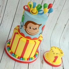 A Curious George cake for a special little guy! 🎂🎉🐒🎈#homeschoolbaker #instacake #curiousgeorgecake