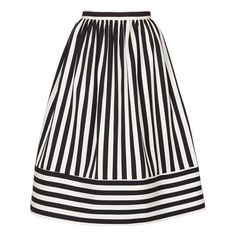 TopShop Cutabout Stripe Midi Skirt (39 AUD) ❤ liked on Polyvore featuring skirts, white striped skirt, cotton skirts, white knee length skirt, cotton midi skirt and prom skirt