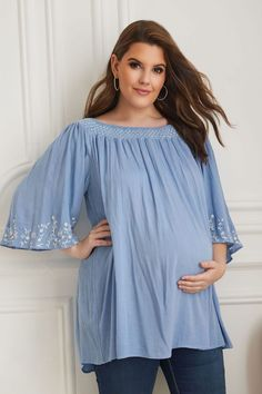 c128a0c8f47 BUMP IT UP MATERNITY Blue Embroidered Smock Neck Plisse Top
