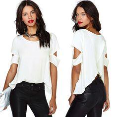 Fashion Sexy Women Short sleeve Crew Neck Shirt Casual chiffon Blouse Crop Tops