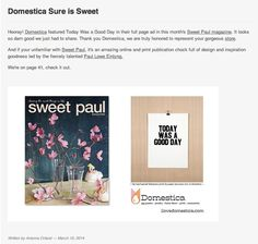 """DOMESTICA IN THE LATEST SWEET PAUL WITH A HOUSE FAVORITE, PAPER JAM PRESS' """"TODAY WAS A GOOD DAY"""" PRINT. SEE IT HERE: #PRINT #QUOTES #RAP #HIPHOP #HIP_HOP #DOMESTICA #PAPERJAMPRESS #WALLS #DECOR #LETTERPRESS"""