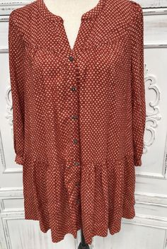 "NEW Med L 40"" HOLDING HORSES Babydoll Top Rust Ivory Dots Peplum Anthropologie  