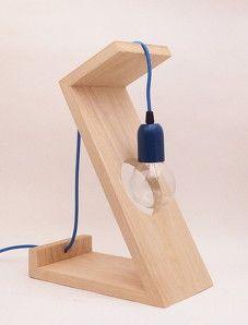 Atelier Mobibois - lampe contemporaine bois bleu