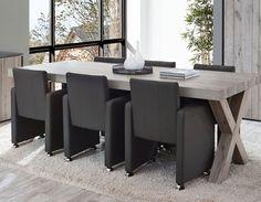 Table à manger contemporaine couleur chêne gris NERA 3