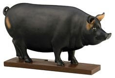 Pig statuette with a chalkboard finish and wood base. Product: Chalkboard decorConstruction Material: Chalkboard and woodColor: BlackFeatures: Art sculpture and functional chalkboard in oneDimensions: H x W x D Note: Chalk not included American Pastoral, Chalkboard Table, Chalkboard Paint, Mini Chalkboards, Cool Landscapes, Joss And Main, Accent Colors, Sculpture Art, 3 D