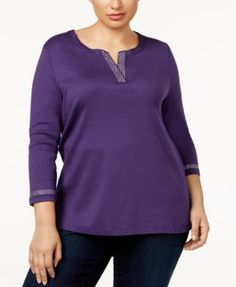 Karen Scott Plus Size Cotton Rhinestone-Trim Top, Created for Macy's - Purple 3X
