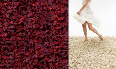leafs red rug and off-white rug