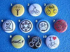 5 pins brooches pins Bicycle choice-No Oil-Critical by Pinsimonio