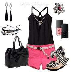pink and black perfect color. I would use a flows black tank, and some different wedges (not crazy about those)