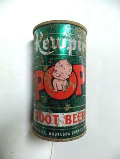 KEWPIE-ROOT-BEER-FLAT-TOP-SODA-POP-CAN-MAMMOTH-SPRINGS-SUSSEX-WAUKESHA-WIS-WI Kewpie Doll, Enamel Ware, Pop Cans, Weird And Wonderful, Root Beer, Tins, Soda, Club, Dolls
