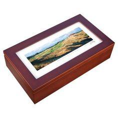 Stonehouse Mahogany Cigar Humidor -- Famous Golf Courses - ARCAD18H
