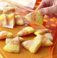 Seventy-Five Fun Halloween Recipes for Festive Treats & Sweets - bystephanielynn  candy corn look sugar cookies