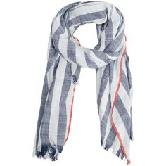 MANGO MAN Stripe-Pattern Cotton Scarf ($36) ❤ liked on Polyvore featuring men's fashion, men's accessories, men's scarves, striped shawl, cotton scarves, cotton shawl and striped scarves