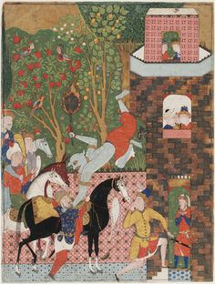 Folio from a Falnama (Book of omens); verso: The Angel of Death (Israel) slays Shaddad; recto: text mid 1550s-early 1560s Safavid period Opaque watercolor, ink and gold on paper H: 59.3 W: 44.8 cm Qazvin, Iran Purchase--Smithsonian Unrestricted Trust Funds, Smithsonian Collections Acquisition Program, and Dr. Arthur M. Sackler S1986.252 Freer-Sackler | The Smithsonian's Museums of Asian Art