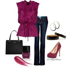 Magenta! I love the feminine look of the blouse.