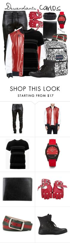 """""""Descendants: Carlos"""" by disney49 ❤ liked on Polyvore featuring Balmain, JanSport, Givenchy, Martian, Joseph Abboud, Gucci, Converse and Frye"""