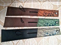 Leather Cuff Wrap Bracelet Twiggy Print in Brown & by Hollyhawk