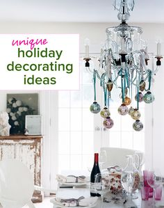 Nice use of the faceted beads and faceted ornaments. See more images from unique holiday decorating ideas on domino.com