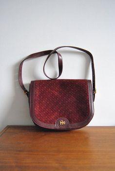 Vintage Emilio Albertario Leather Shoulder Bag Burgundy Suede Italy by ModernSquirrel