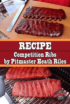 Competition Ribs Recipe from Pitmaster Heath Riles smoker recipes,masterbuilt smoker recipes,electric smoker recipes,bradley smoker recipes,best smoker recipes Pork Rib Recipes, Smoked Meat Recipes, Barbecue Recipes, Grilling Recipes, Vegan Recipes, Ribs On Grill, Bbq Ribs, Smoked Pork Ribs, Ripped Recipes