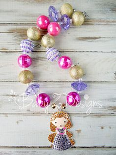 Rapunzel Inspired Chunky Necklace in Pink Purple by babyzdesigns