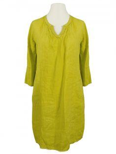 Damen Tunika Kleid aus Leinen, gelb von Puro Lino bei www.meinkleidchen.de