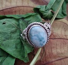 New Natural Larimar Ring, Sterling Silver Ring, Boho Ring, O Costume Jewelry Rings, Jewelry Gifts, Jewelry Shop, Sterling Silver Jewelry, Gemstone Jewelry, 925 Silver, Diamond Jewelry, Handmade Wedding Rings, Engagement Gifts