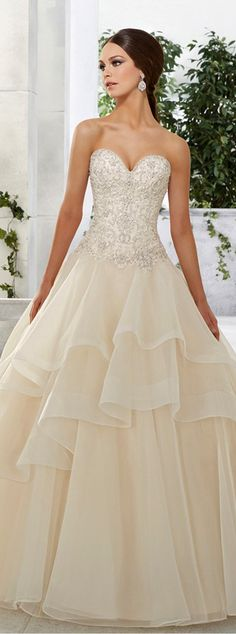 Gorgeous Tulle & Satin Sweetheart Neckline A-Line Wedding Dresses With Embroidery & Beadings
